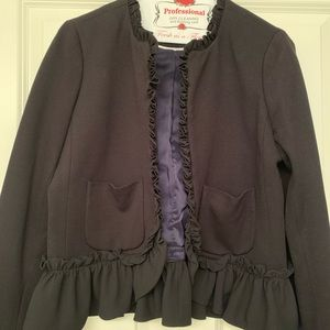 JCrew Black Ruffle Blazer